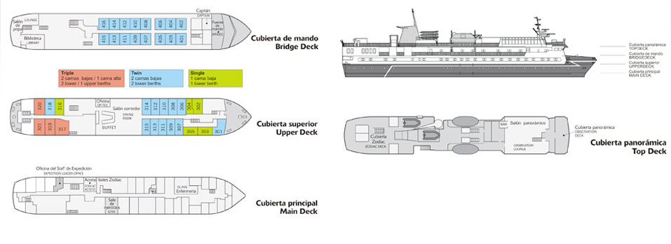 Deck Plan of our expedition cruise M/V 'Ocean Nova' - www.fsexpeditions.com