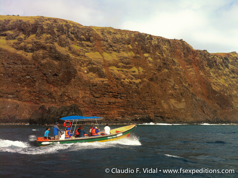 Boat ride towards the 'motus', the volcanic islets where we can see a great variety of pelagic seabirds including petrels, boobies, frigatebirds and noddies © Claudio F. Vidal, Far South Expeditions