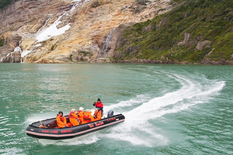Beginning the RIB (Rigid Inflatable Boat) journey across the scenic course of Serrano River, up to Torres del Paine National Park © Claudio F. Vidal, FS Expeditions - www.fsexpeditions.com