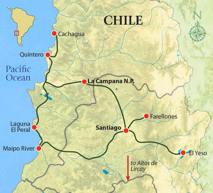 Birding Central Chile trip map