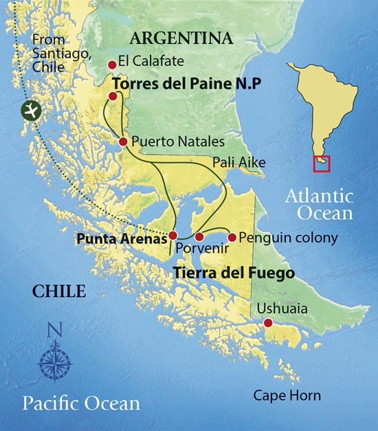 Birding Patagonia & Tierra del Fuego Tour Map © Far South Expeditions