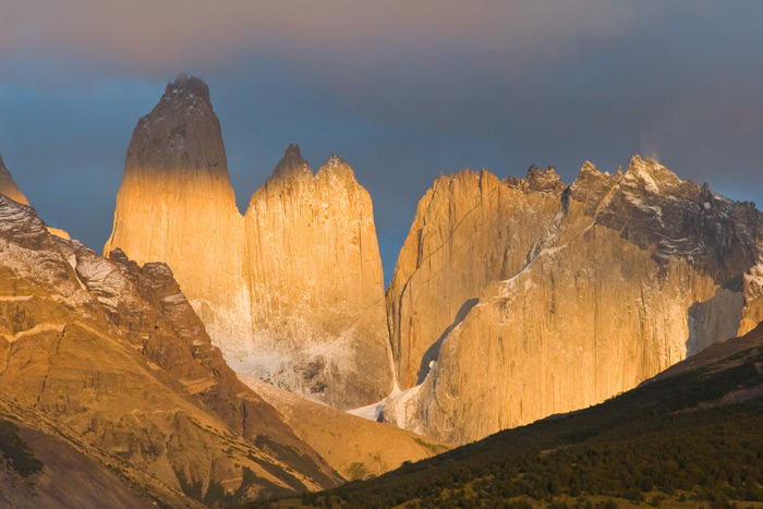 The 'towers', the granite spires naming Torres del Paine NP, Chile © Claudio F. Vida, Far South Expeditions