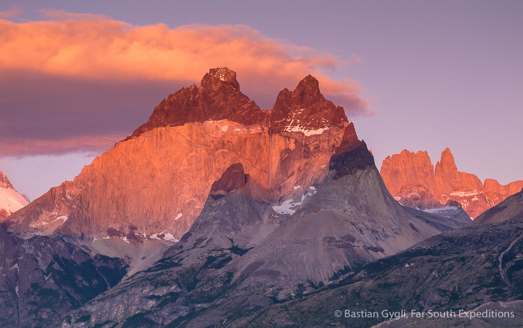 Sunrise at Paine Massif, Torres del Paine NP, Chile © Bastian Gygli, Far South Exp