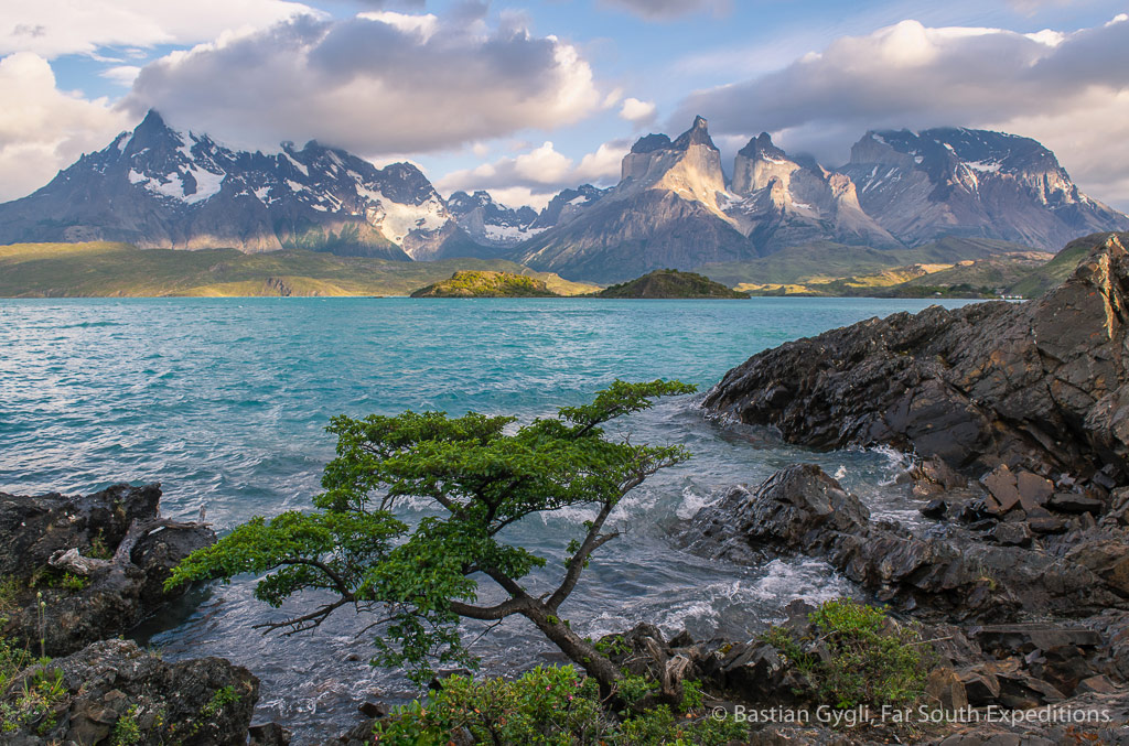 The Paine Massif and Pehoe Lake, Torres del Paine NP, Chile © Bastian Gygli, Far South Exp