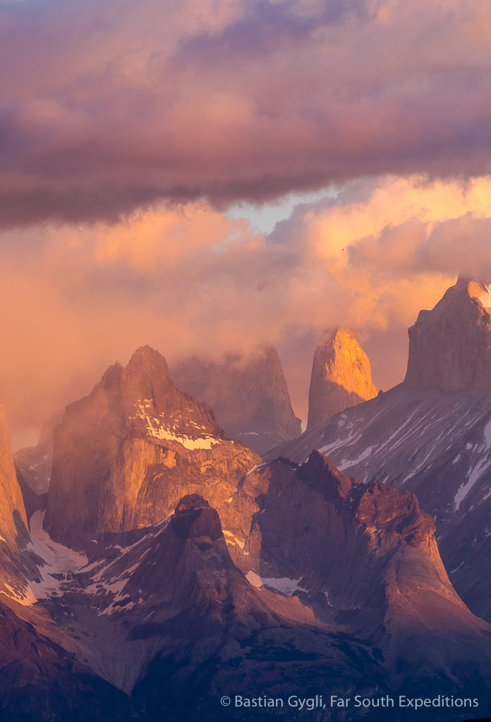 Sunrise at Paine Massif, Torres del Paine Chile © Bastian Gygli, Far South Exp