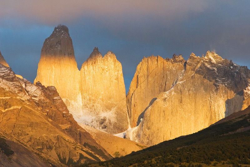 Sunrise at the towering granite spires that named the park - Las Torres -, Torres del Paine National Park, Chilean Patagonia © Claudio F. Vidal, Far South Expeditions