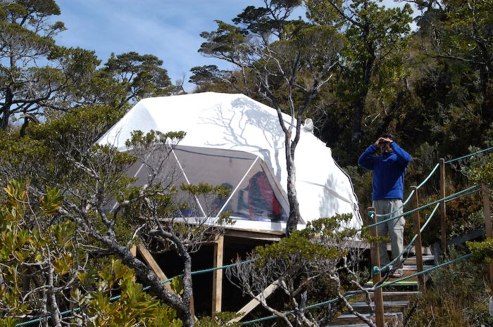 Eco-camp facilities, Carlos III Island, Francisco Coloane Marine Park, Straits of Magellan, Chile