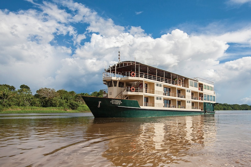 Explore with us the Amazon River on the world-class cruise La Estrella Amazonica and join naturalist and photographer Claudio F. Vidal